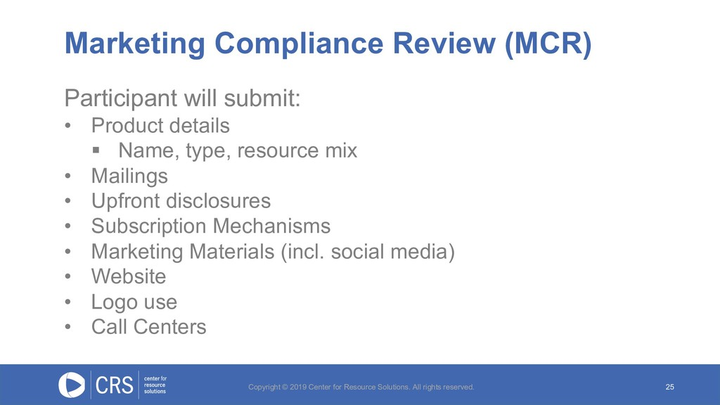Marketing Compliance Review (MCR) 25 Participan...