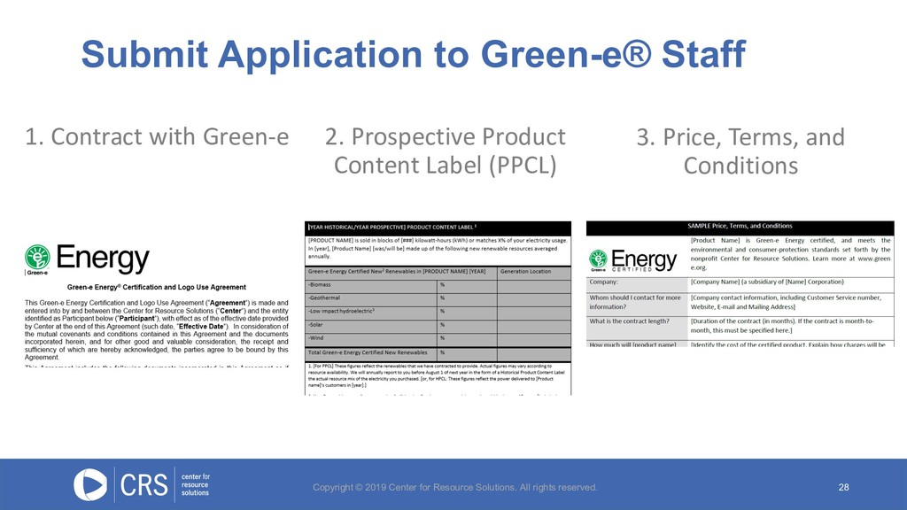 Submit Application to Green-e® Staff 28 1. Cont...