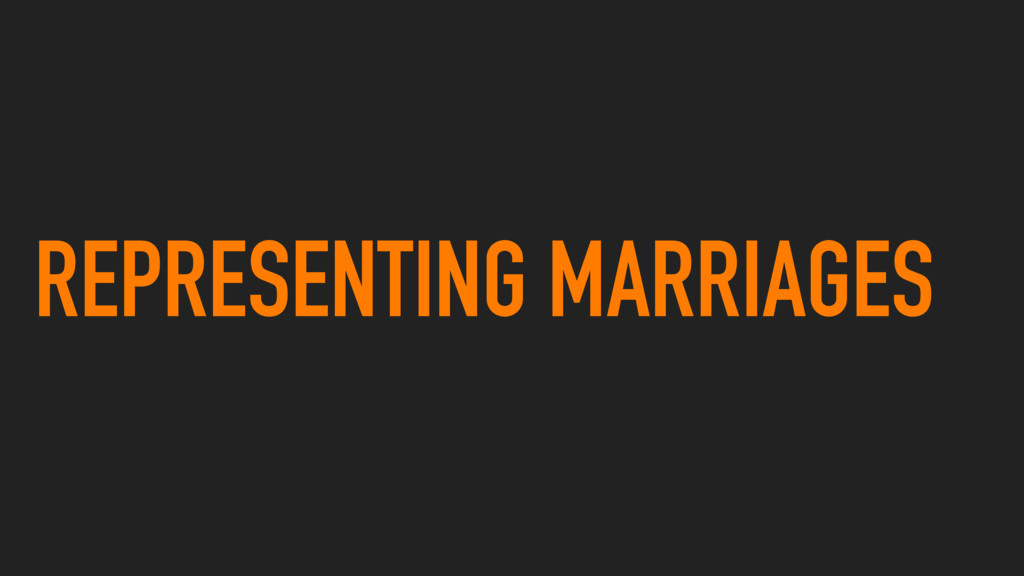REPRESENTING MARRIAGES