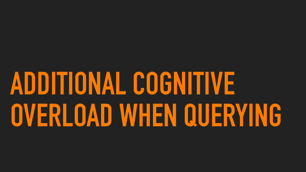 ADDITIONAL COGNITIVE OVERLOAD WHEN QUERYING