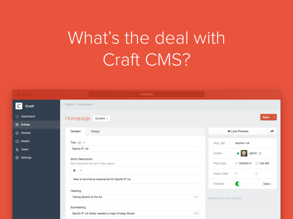 What's the deal with Craft CMS? Homepage Homepa...