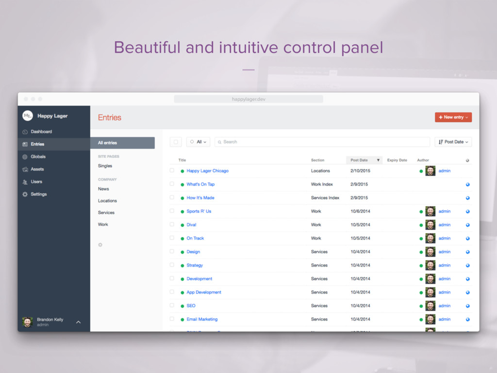 Beautiful and intuitive control panel