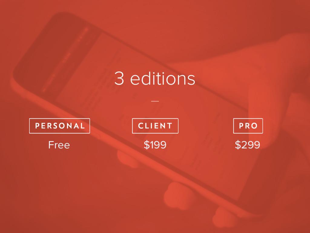 3 editions Free $299 $199 P E R S O N A L C L I...