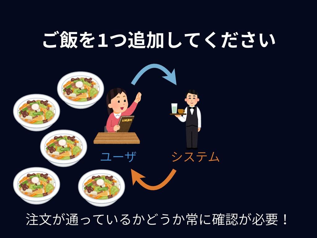 ご飯を1つ追加してください システム ユーザ 注⽂が通っているかどうか常に確認が必要!