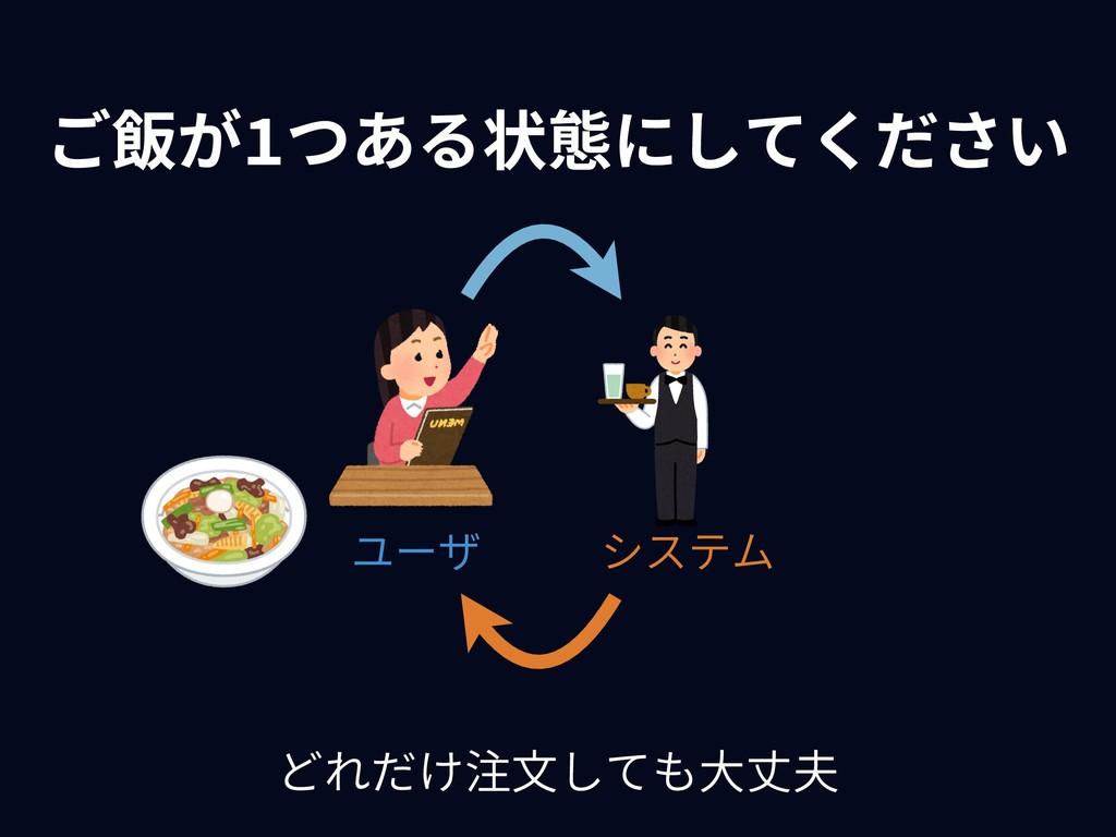 ご飯が1つある状態にしてください システム ユーザ どれだけ注⽂しても⼤丈夫