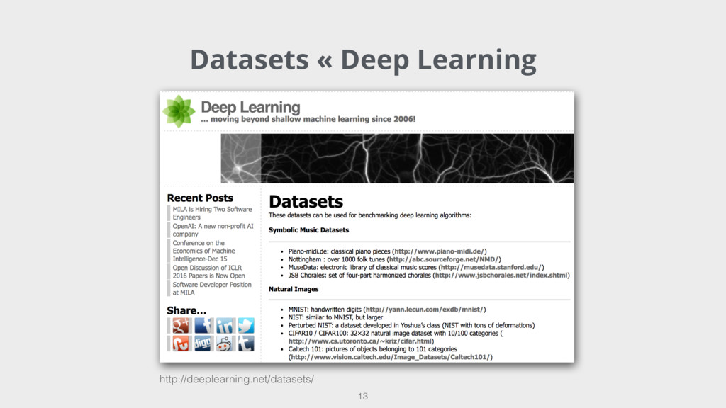 Datasets « Deep Learning 13 http://deeplearning...