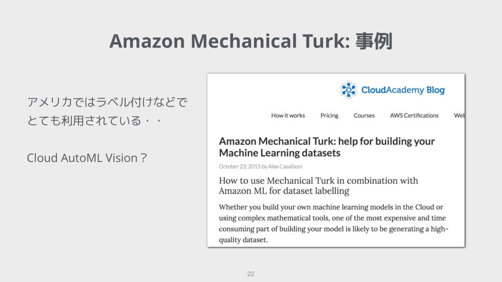 Amazon Mechanical Turk: 事例 22 アメリカではラベル付けなどで とて...