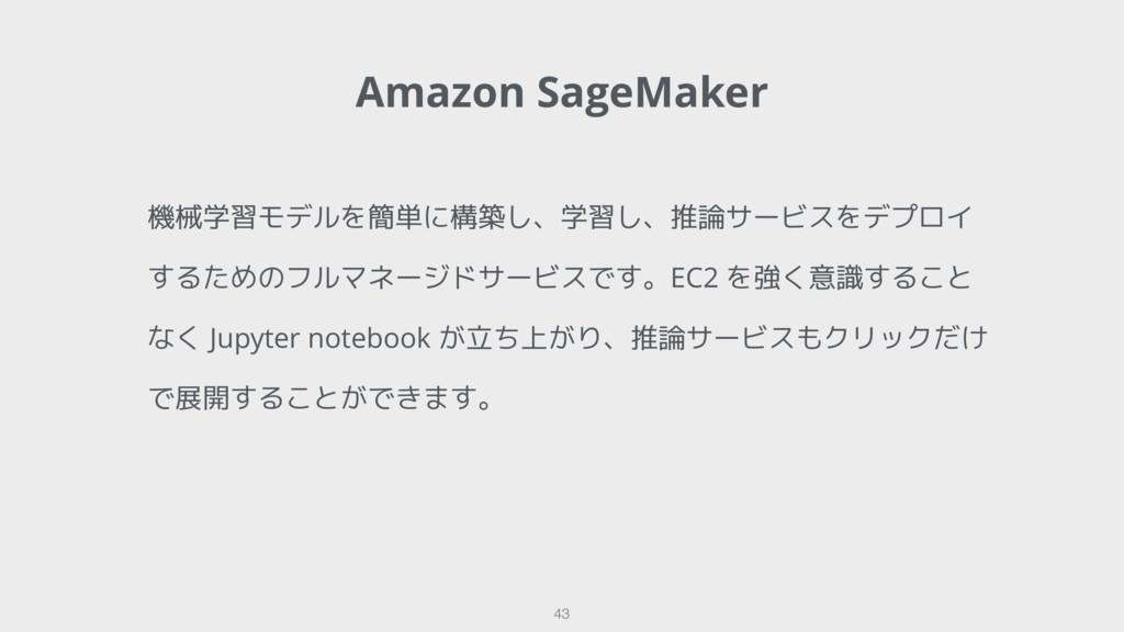 Amazon SageMaker 43 機械学習モデルを簡単に構築し、学習し、推論サービスをデ...