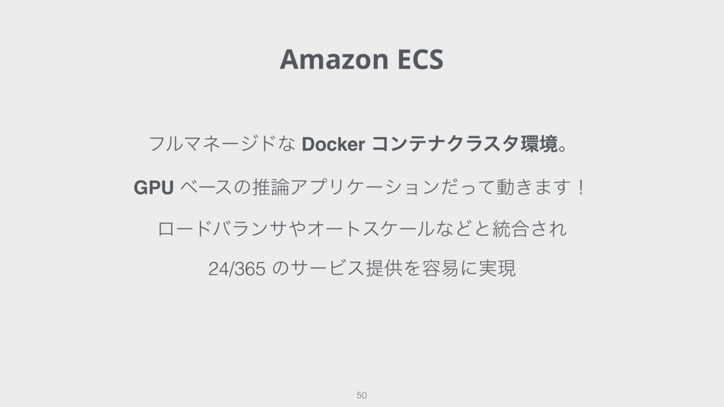 Amazon ECS 50 ϑϧϚωʔδυͳ Docker ίϯςφΫϥελڥɻ GPU ϕ...