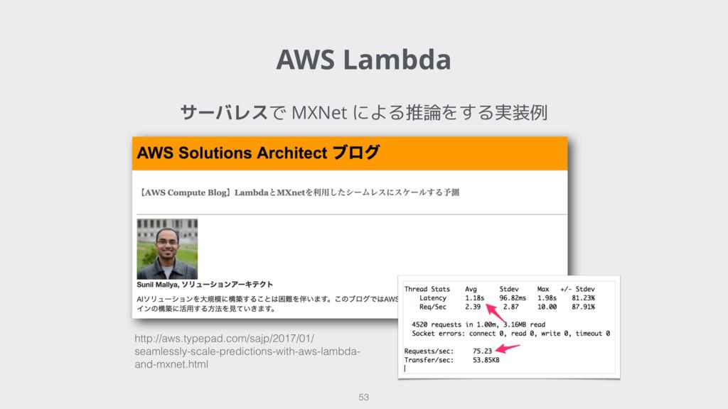 AWS Lambda 53 サーバレスで MXNet による推論をする実装例 http://a...