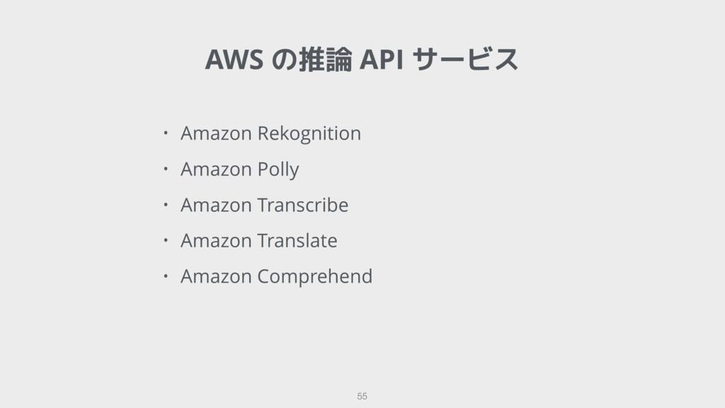 AWS の推論 API サービス 55 • Amazon Rekognition • Amaz...