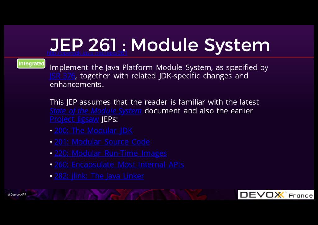 #DevoxxFR JEP 261 : Module System Implement the...