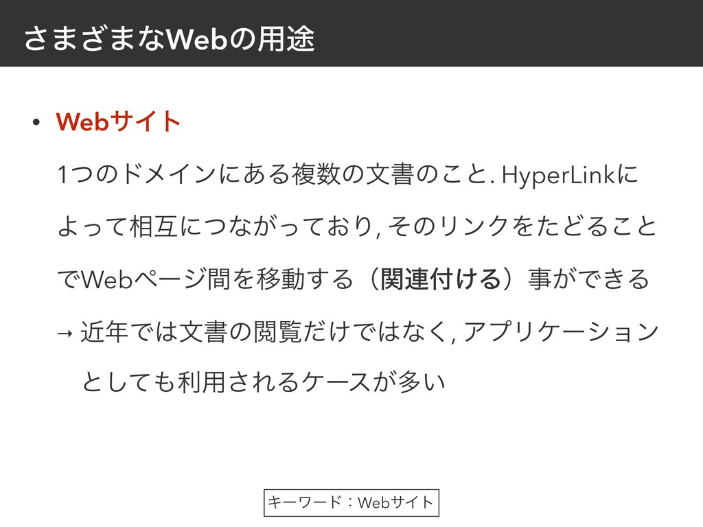 ͞·͟·ͳWebͷ༻్ • WebαΠτ 1ͭͷυϝΠϯʹ͋Δෳͷจॻͷ͜ͱ. Hyper...