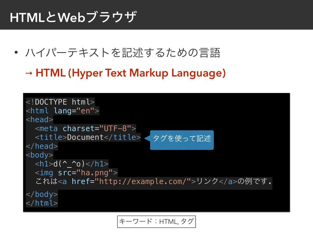 • ϋΠύʔςΩετΛهड़͢ΔͨΊͷݴޠ → HTML (Hyper Text Markup ...