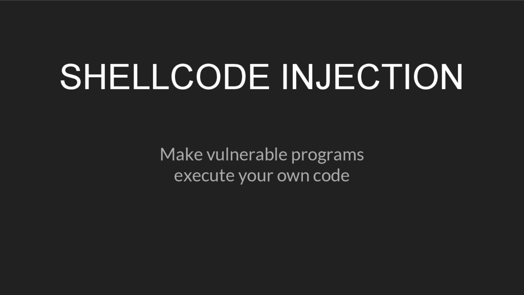 SHELLCODE INJECTION Make vulnerable programs ex...