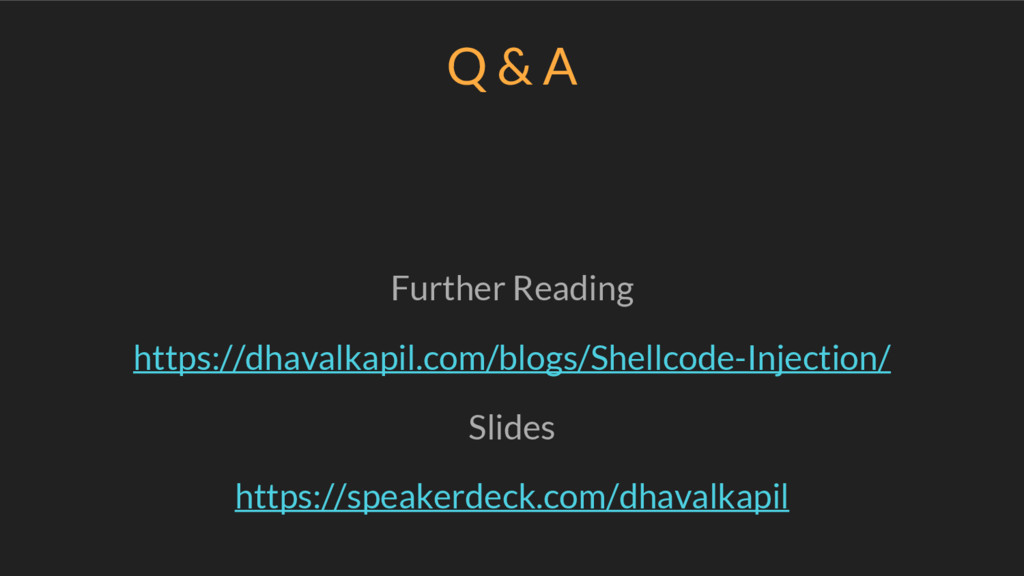 Q & A Further Reading https://dhavalkapil.com/b...