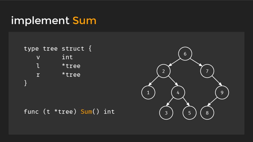 type tree struct { v int l *tree r *tree } func...