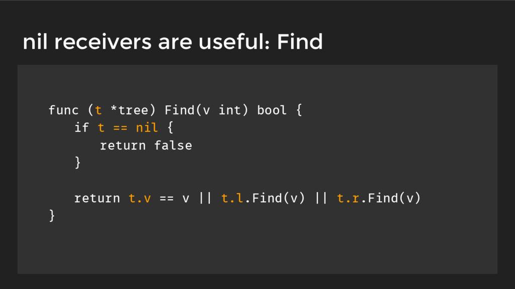 func (t *tree) Find(v int) bool { if t == nil {...