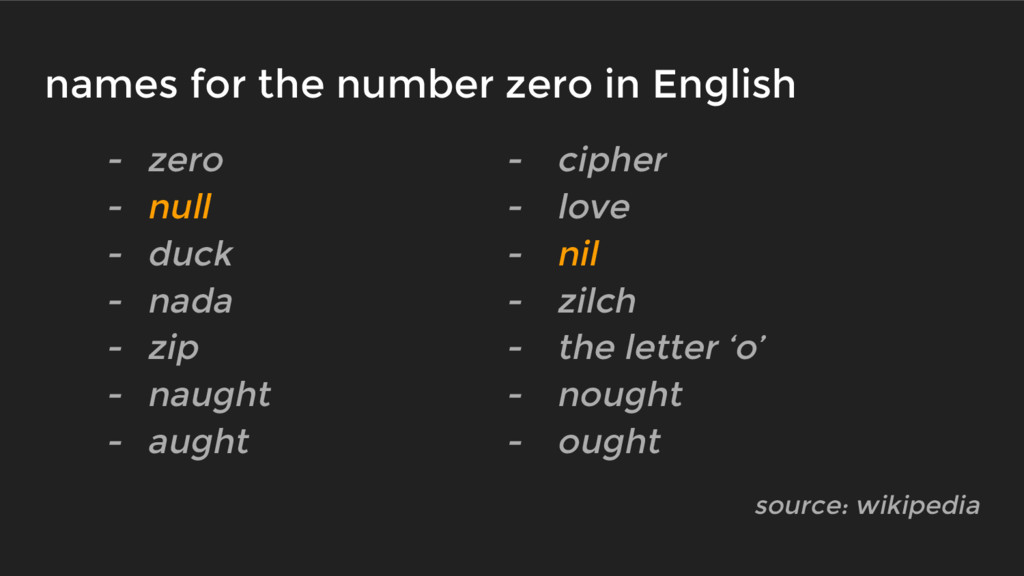 names for the number zero in English - zero - c...