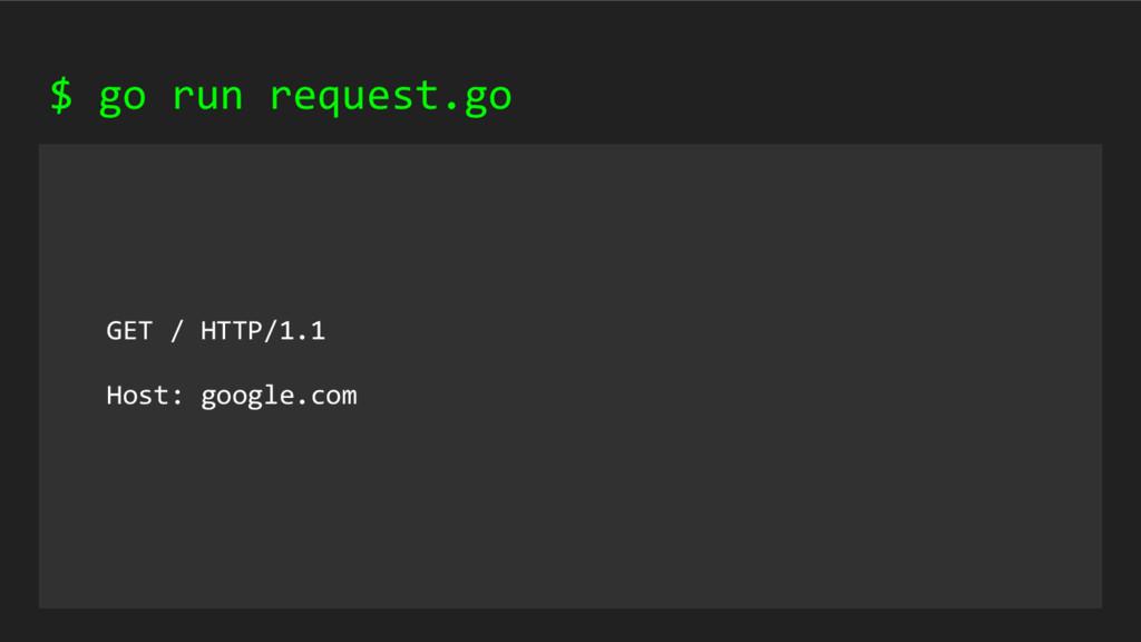 GET / HTTP/1.1 Host: google.com $ go run reques...