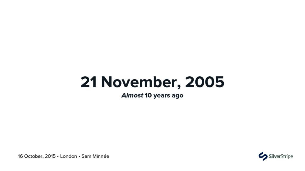 16 October, 2015 • London • Sam Minnée 21 Novem...