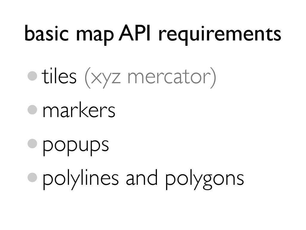 basic map API requirements •tiles (xyz mercator...