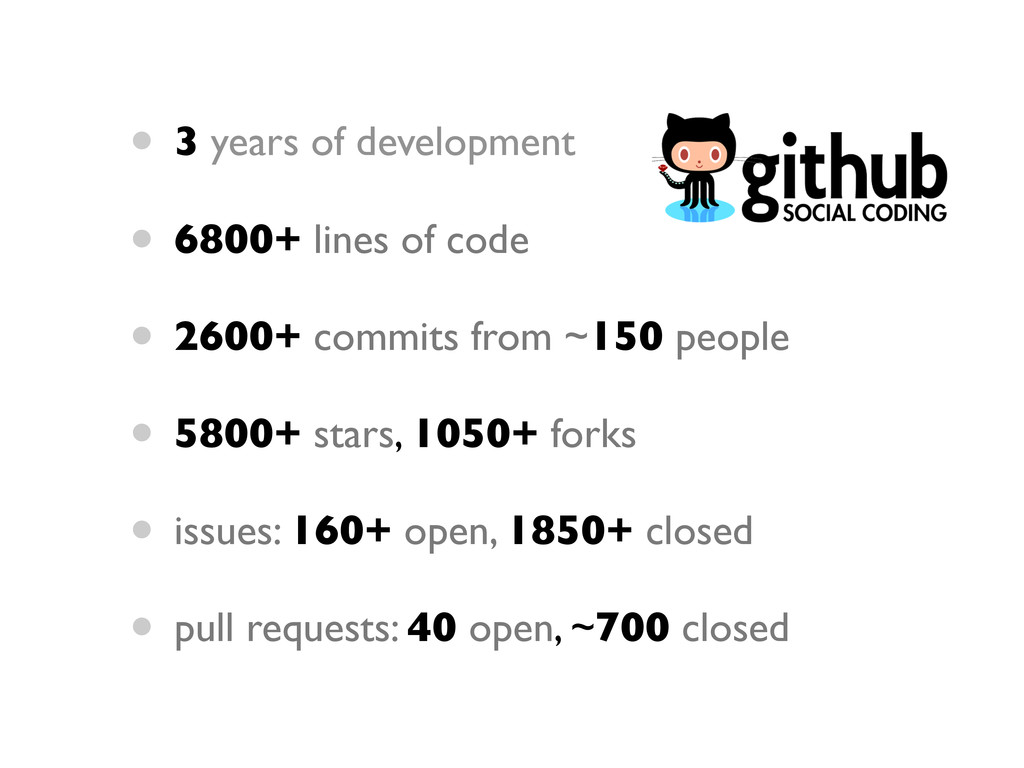 • 3 years of development • 6800+ lines of code ...