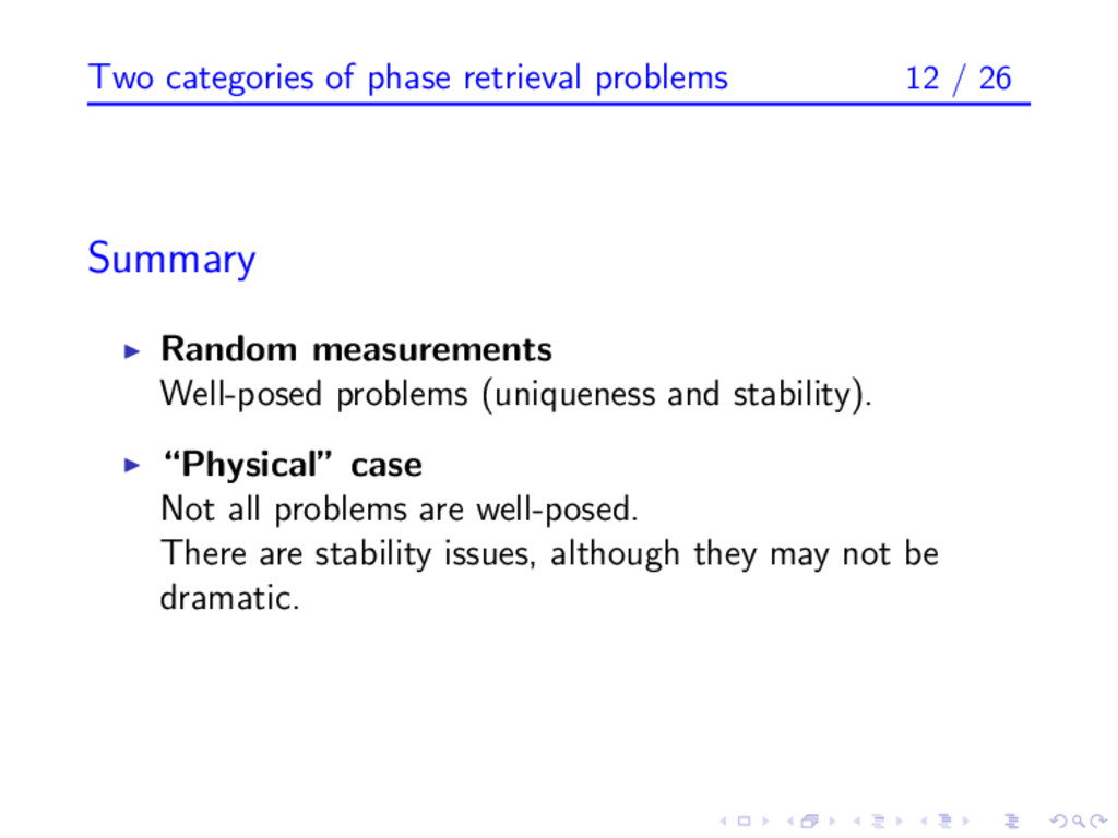 Two categories of phase retrieval problems 12 /...