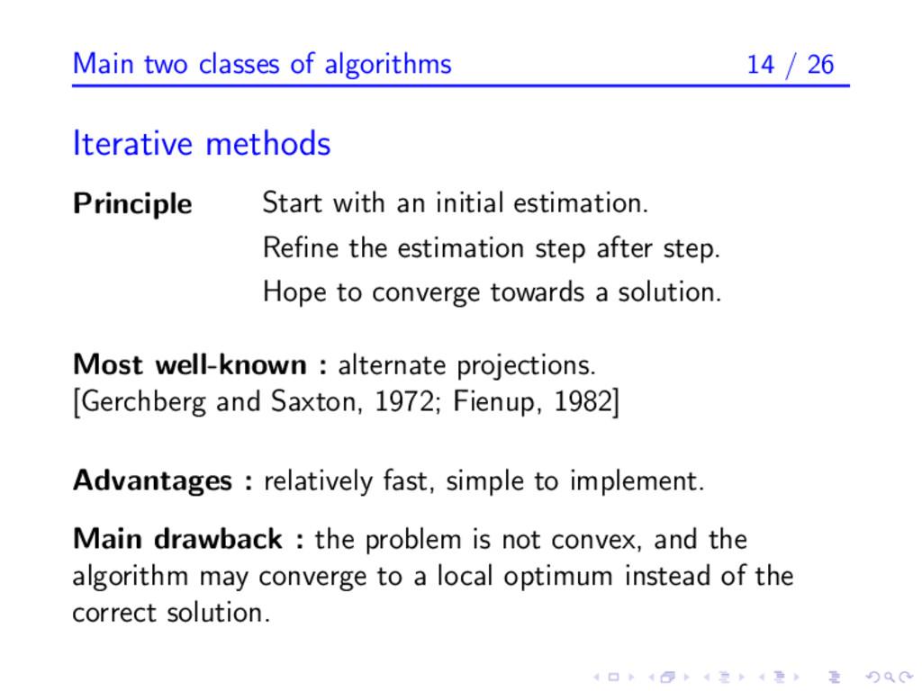 Main two classes of algorithms 14 / 26 Iterativ...
