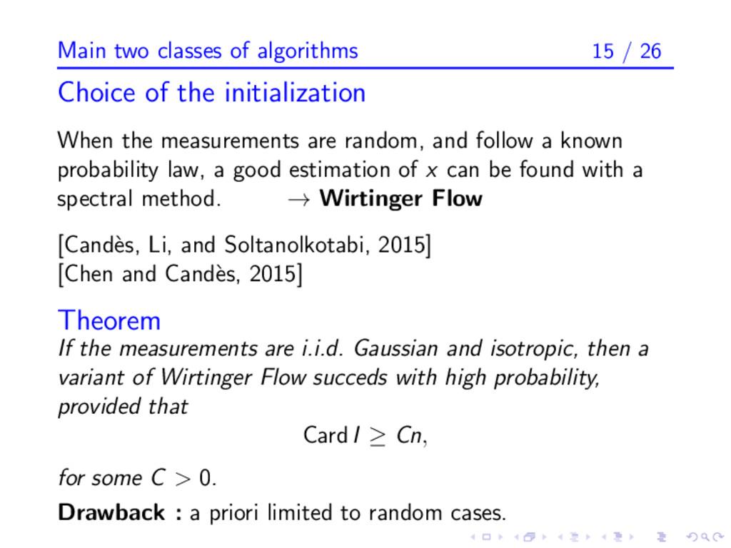 Main two classes of algorithms 15 / 26 Choice o...