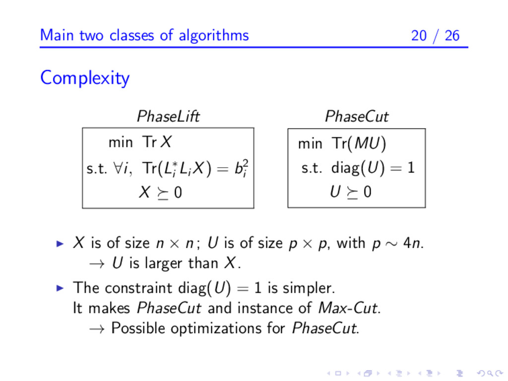 Main two classes of algorithms 20 / 26 Complexi...