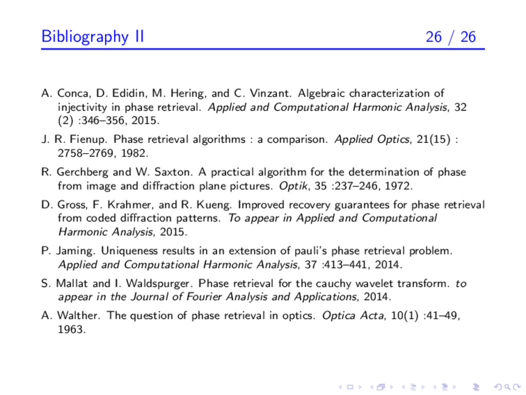 Bibliography II 26 / 26 A. Conca, D. Edidin, M....