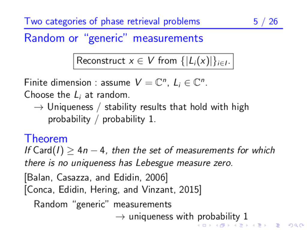 Two categories of phase retrieval problems 5 / ...