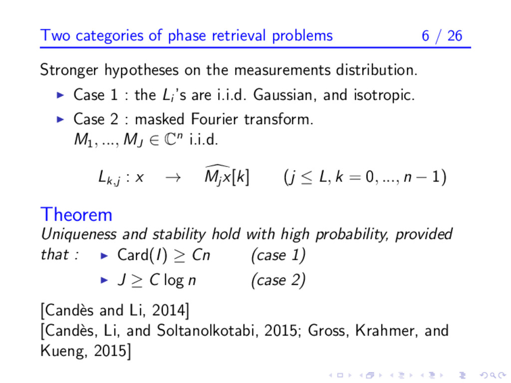 Two categories of phase retrieval problems 6 / ...