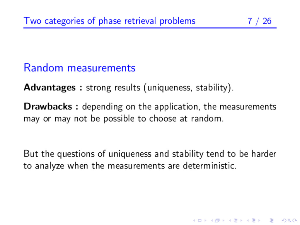 Two categories of phase retrieval problems 7 / ...