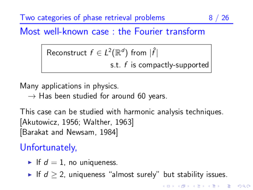 Two categories of phase retrieval problems 8 / ...