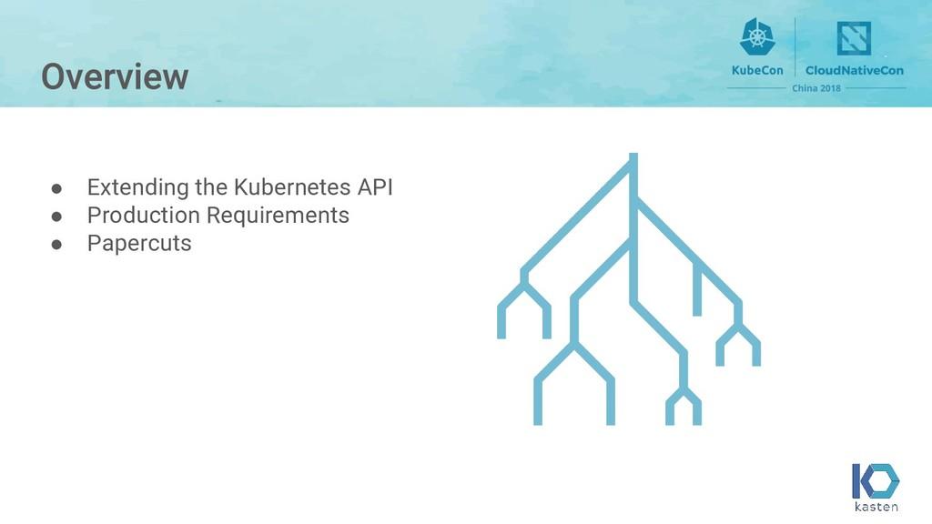 ● Extending the Kubernetes API ● Production Req...