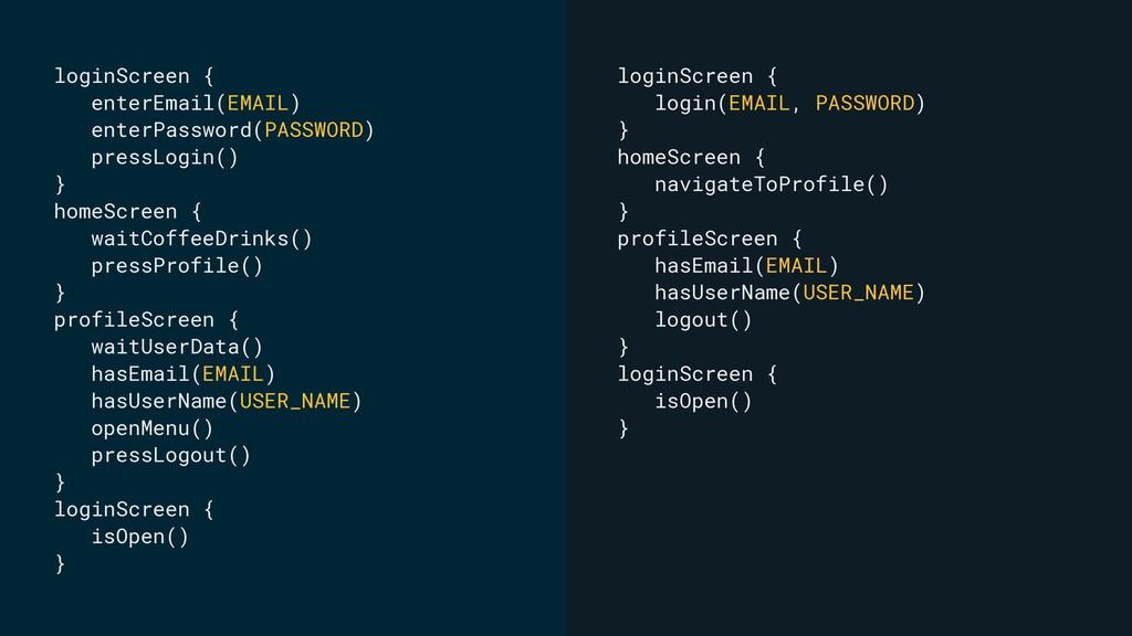 loginScreen { enterEmail(EMAIL) enterPassword(P...