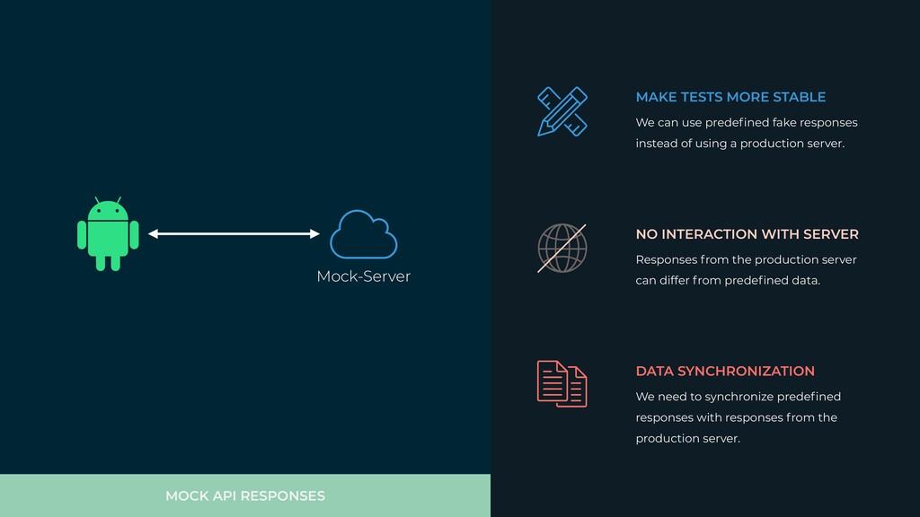 MOCK API RESPONSES MAKE TESTS MORE STABLE We ca...