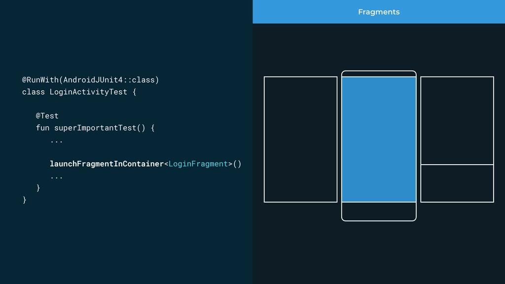 Fragments @RunWith(AndroidJUnit4::class) class ...