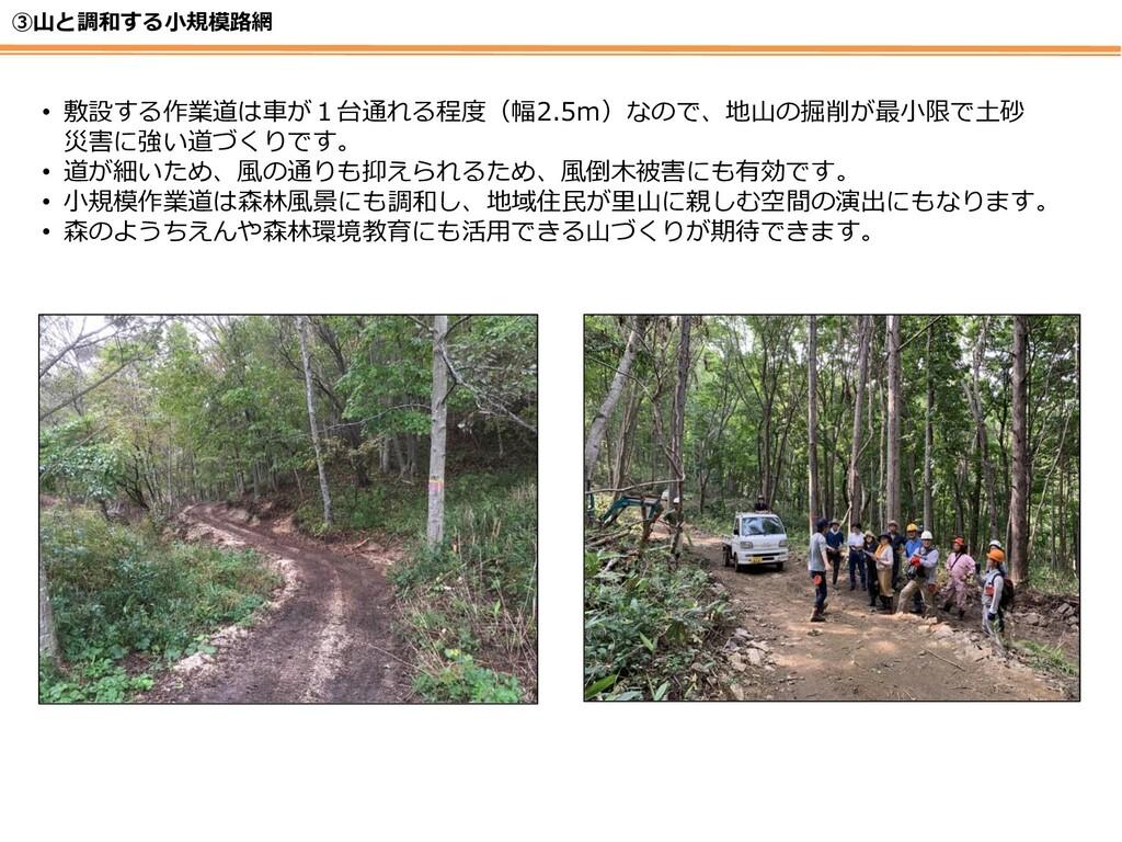 ③山と調和する小規模路網 • 敷設する作業道は車が1台通れる程度(幅2.5m)なので、地山の掘...
