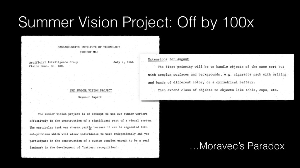 Summer Vision Project: Off by 100x …Moravec's P...