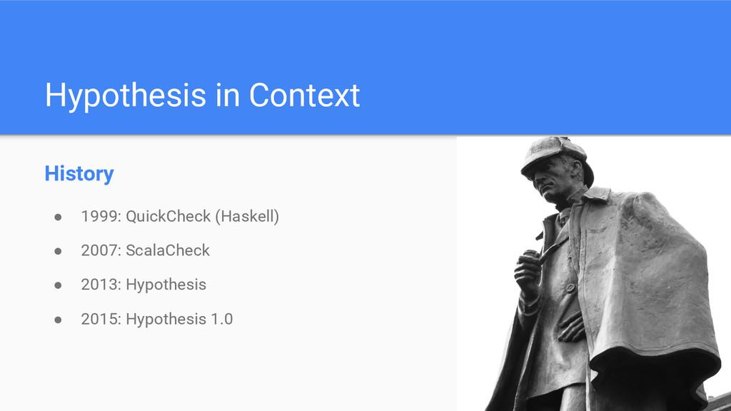Hypothesis in Context History ● 1999: QuickChec...
