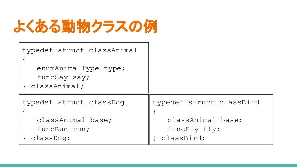 よくある動物クラスの例 typedef struct classAnimal { enumAn...