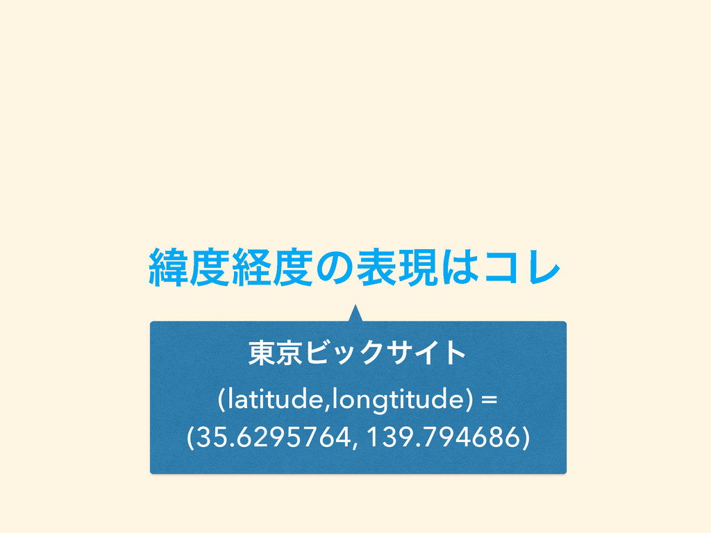 ҢܦͷදݱίϨ ౦ژϏοΫαΠτ (latitude,longtitude) = (35...