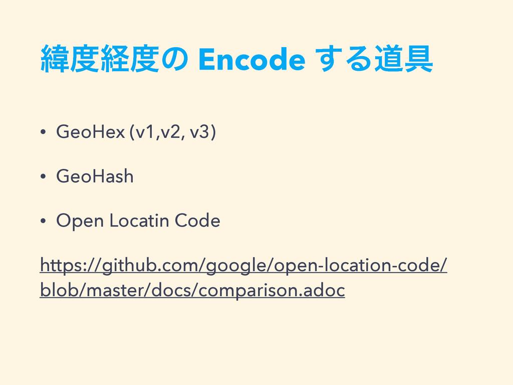Ңܦͷ Encode ͢Δಓ۩ • GeoHex (v1,v2, v3) • GeoHas...