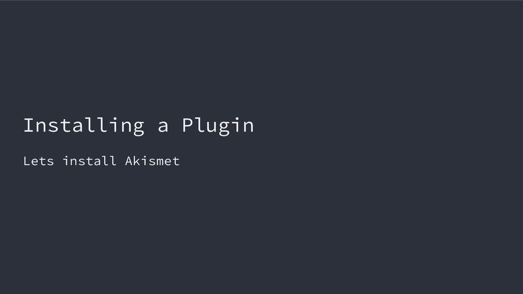 Installing a Plugin Lets install Akismet