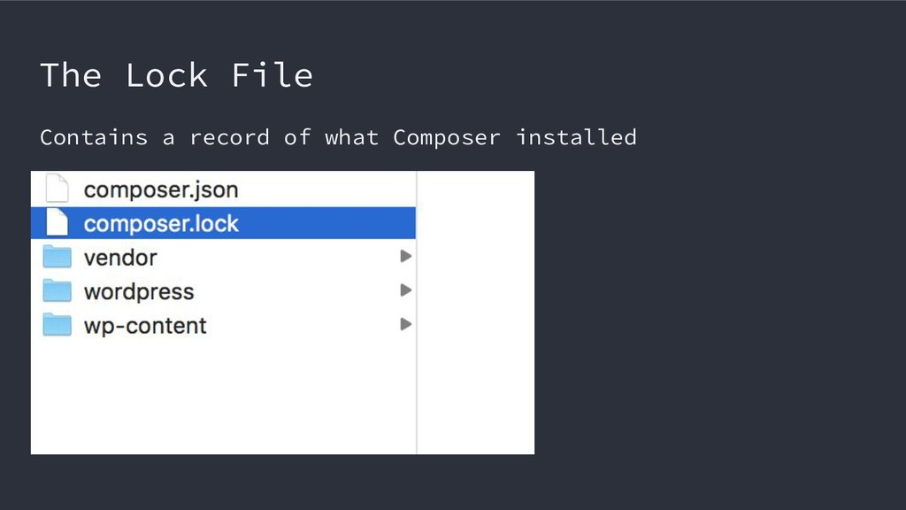The Lock File Contains a record of what Compose...
