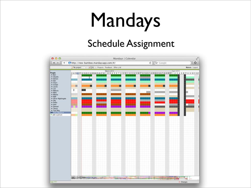 Mandays Schedule Assignment
