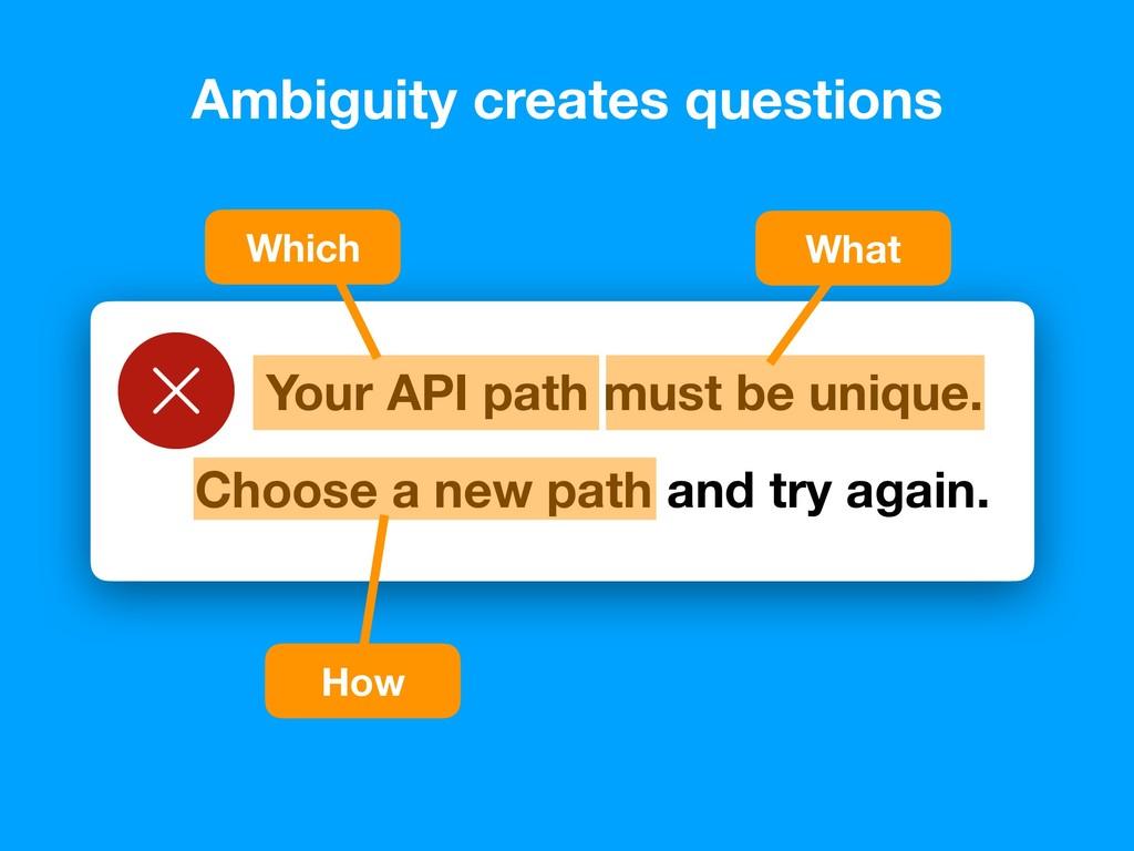 Your API path must be unique. Ambiguity creates...